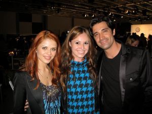 Writer Collins Reiter with event attendees Dancing With the Stars Gilles Marini and Anna Trebunskaya.