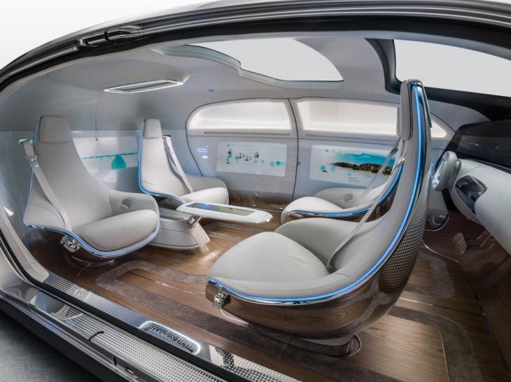 Mercedes-Benz F 015 Luxury in Motion Concept Car Interior.  Front passenger seats swivel around to provide the option of four passengers facing one another.  Photo credit: Mercedes-Benz